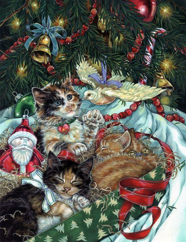 Christmas tree and kittens by Donna Race