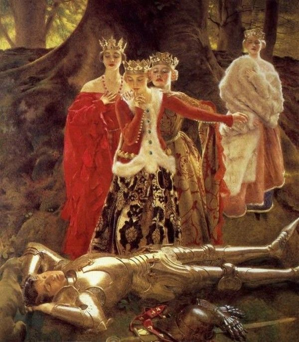 """Four Queens Find Lancelot Sleeping"" by Frank Cadogan Cowper"