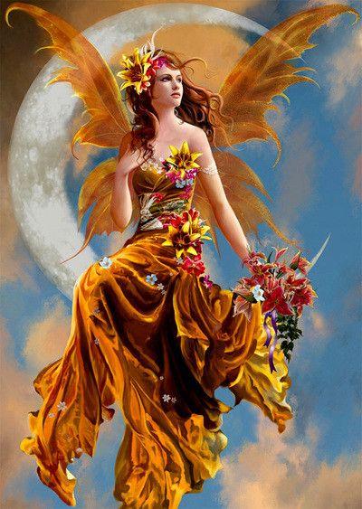 Golden flowered fairy sitting on the moon-Néné Thomas
