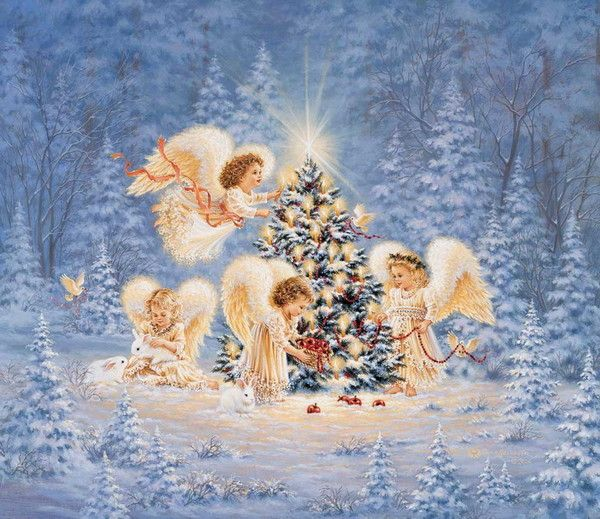 Christmas tree and angels by Dona Gelsinger