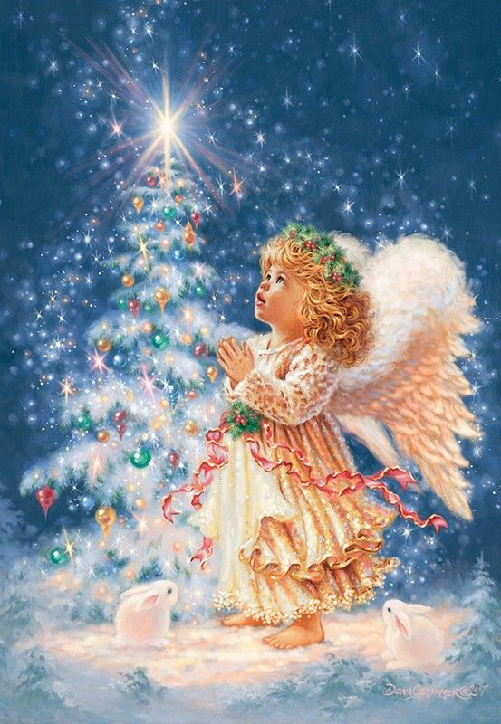 Christmas tree and Angel by Dona Gelsinger
