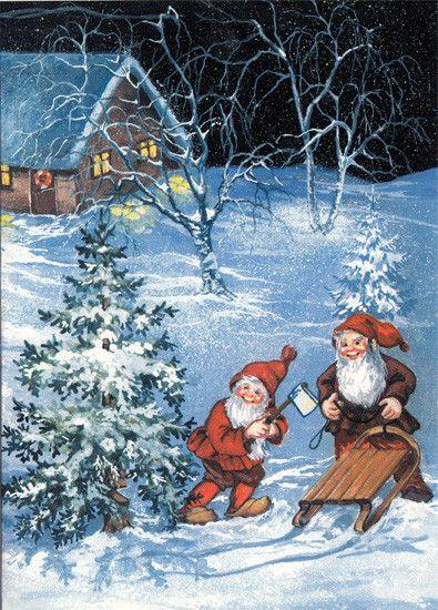 Birgit Helen art-Les gnomes dans la neige