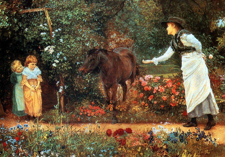 Victorian Horse Feeding Scene