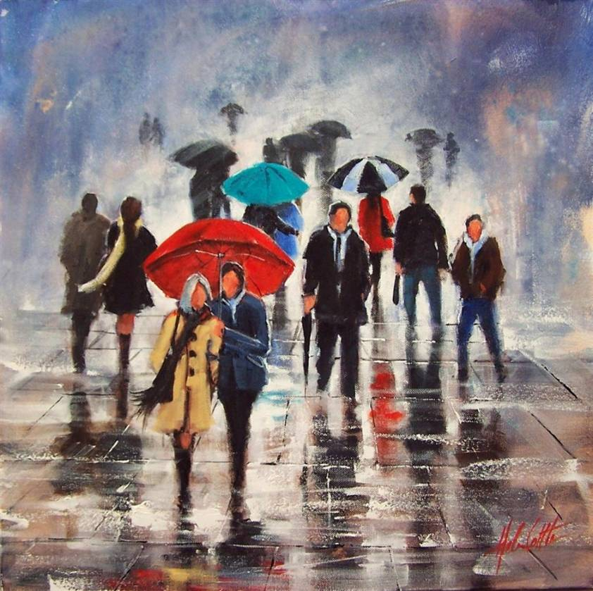 Helen cottle art for Painting red umbrella