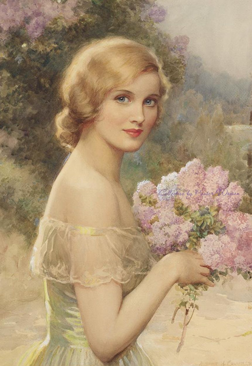 Vintage Paintings Of Women woman and flowers