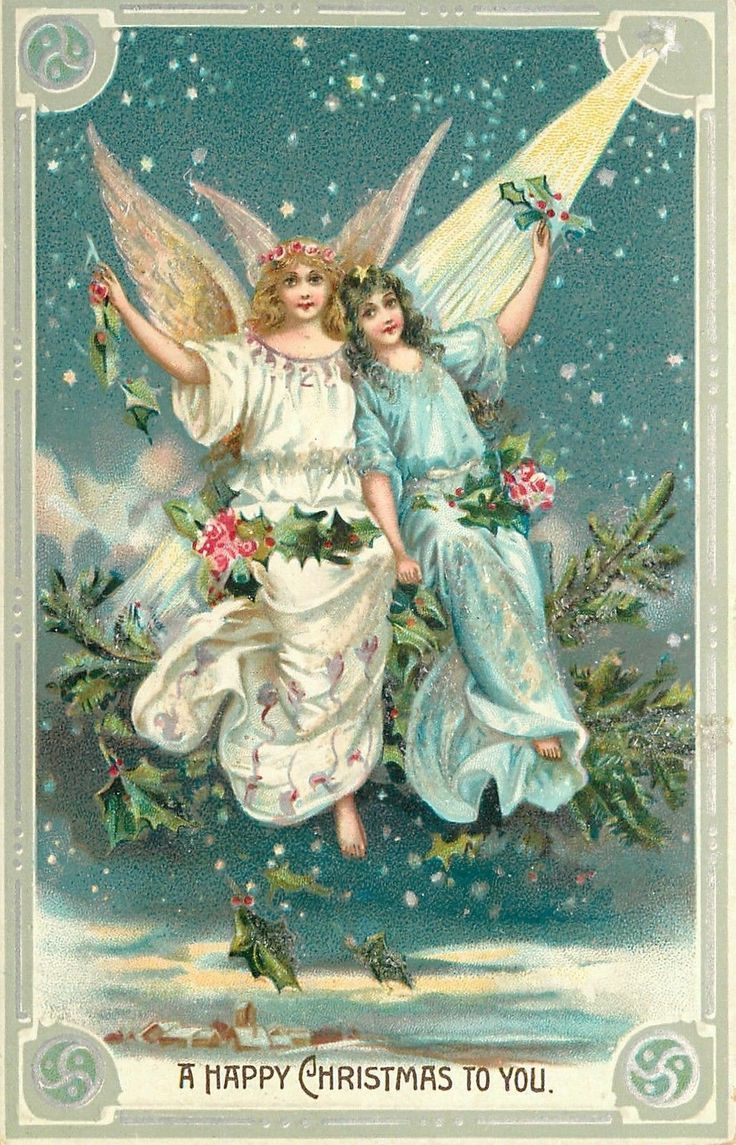 Vintage christmas cards page 3 for Christmas angels